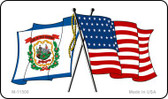 West Virginia Crossed US Flag Wholesale Magnet M-11508