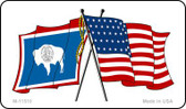 Wyoming Crossed US Flag Wholesale Magnet M-11510