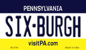 Six-Burgh Pennsylvania State License Plate Wholesale Magnet M-2195