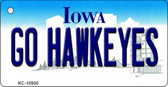 Go Hawkeyes Iowa State License Plate Novelty Wholesale Key Chain KC-10950