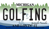Golfing Michigan State License Plate Novelty Wholesale Magnet M-4755
