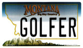 Golfer Montana State License Plate Novelty Wholesale Magnet M-11121