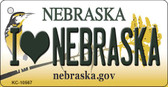 I Love Nebraska State License Plate Novelty Wholesale Key Chain KC-10567