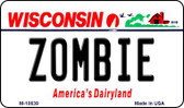 Zombie Wisconsin State License Plate Novelty Wholesale Magnet M-10639