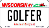 Golfer Wisconsin State License Plate Novelty Wholesale Magnet M-10643