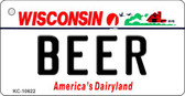 Beer Wisconsin License Plate Novelty Wholesale Key Chain KC-10622