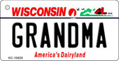 Grandma Wisconsin License Plate Novelty Wholesale Key Chain KC-10635