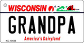 Grandpa Wisconsin License Plate Novelty Wholesale Key Chain KC-10636