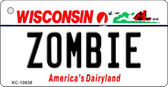 Zombie Wisconsin License Plate Novelty Wholesale Key Chain KC-10639