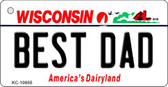 Best Dad Wisconsin License Plate Novelty Wholesale Key Chain KC-10655