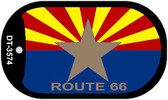 Arizona Flag with Route 66 Novelty Wholesale Dog Tag Necklace DT-3574