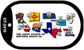 RT 66 Historic Eight Flags Novelty Wholesale Dog Tag Necklace DT-2419