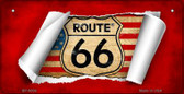 RT 66 Flag Scroll Novelty Wholesale Bicycle License Plate BP-9006