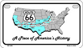 RT 66 A Piece of History Novelty Wholesale Motorcycle License Plate MP-099