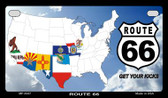 RT 66 8 Flags and Clouds Novelty Wholesale Motorcycle License Plate MP-4347