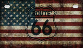 Route 66 American Flag Novelty Wholesale Motorcycle License Plate MP-7858