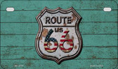 Route 66 Wood Rusty Logo Novelty Wholesale Motorcycle License Plate MP-8774