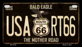 Route 66 Bald Eagle Novelty Wholesale Motorcycle License Plate MP-8776