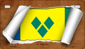 St. Vincent Flag Scroll Wholesale Novelty Motorcycle Plate MP-9292