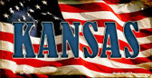 Kansas US Flag Wholesale Novelty Bicycle Plate BP-3627