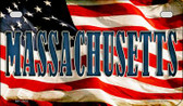 Massachusetts US Flag Wholesale Novelty Motorcycle Plate MP-3632