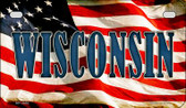 Wisconsin US Flag Wholesale Novelty Motorcycle Plate MP-3660