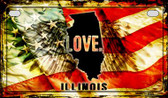 Illinois Love & Wings Wholesale Novelty Motorcycle Plate MP-8599