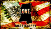 Mississippi Love & Wings Wholesale Novelty Motorcycle Plate MP-8610