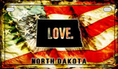 North Dakota Love & Wings Wholesale Novelty Motorcycle Plate MP-8620