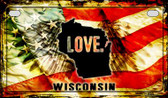 Wisconsin Love & Wings Wholesale Novelty Motorcycle Plate MP-8635