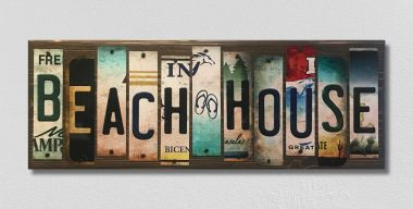 Beach House License Plate Strip Wholesale Novelty Wood Sign WS-017