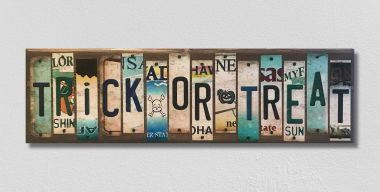 Trick or Treat License Plate Strip Wholesale Novelty Wood Sign WS-019