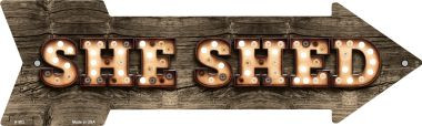 She Shed Bulb Letters Wholesale Novelty Arrow Sign A-502