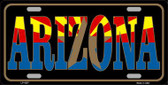Arizona Inlayed State Flag Wholesale Metal Novelty License Plate LP-4207