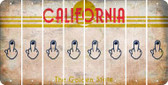 California MIDDLE FINGER Cut License Plate Strips (Set of 8) LPS-CA1-091