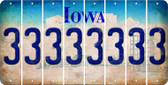 Iowa 3 Cut License Plate Strips (Set of 8) LPS-IA1-030