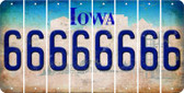 Iowa 6 Cut License Plate Strips (Set of 8) LPS-IA1-033