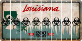 Louisiana BIO HAZARD Cut License Plate Strips (Set of 8) LPS-LA1-084