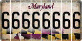 Maryland 6 Cut License Plate Strips (Set of 8) LPS-MD1-033
