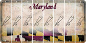 Maryland BASEBALL WITH BAT Cut License Plate Strips (Set of 8) LPS-MD1-057