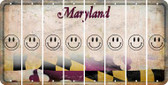 Maryland SMILEY FACE Cut License Plate Strips (Set of 8) LPS-MD1-089