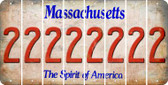 Massachusetts 2 Cut License Plate Strips (Set of 8) LPS-MA1-029