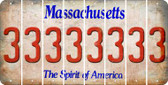 Massachusetts 3 Cut License Plate Strips (Set of 8) LPS-MA1-030