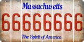 Massachusetts 6 Cut License Plate Strips (Set of 8) LPS-MA1-033