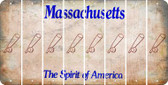 Massachusetts BASEBALL WITH BAT Cut License Plate Strips (Set of 8) LPS-MA1-057