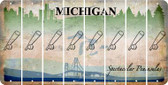 Michigan BASEBALL WITH BAT Cut License Plate Strips (Set of 8) LPS-MI1-057