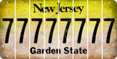 New Jersey 7 Cut License Plate Strips (Set of 8) LPS-NJ1-034