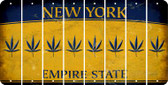 New York POT LEAF Cut License Plate Strips (Set of 8) LPS-NY1-090