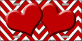 Red White Chevron Red Center Hearts Wholesale Metal Novelty License Plate LP-4488