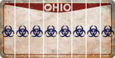 Ohio BIO HAZARD Cut License Plate Strips (Set of 8) LPS-OH1-084